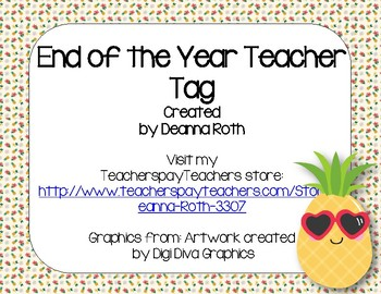 End of the Year Teacher Gift/Poem/Tag/Bookmark--Pineapple Themed