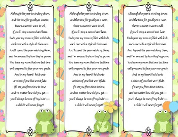 End of the Year Teacher Gift/Poem/Tag/Bookmark--Frog Themed