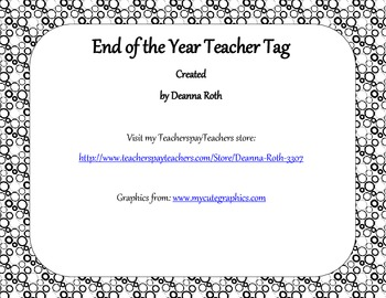 End of the Year Teacher Gift/Poem/Tag/Bookmark--Monster Black & White Themed