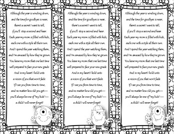 End of the Year Teacher Gift/Poem/Tag/Bookmark--Monster Bl