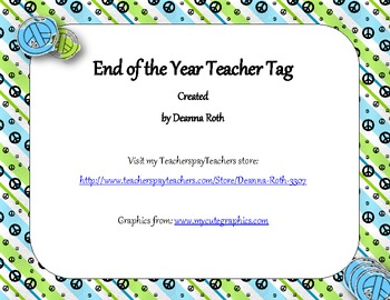 End of the Year Teacher Gift/Poem/Tag/Bookmark--Peace Sign Themed
