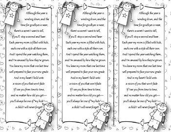 End of the Year Teacher Gift/Poem/Tag/Bookmark--Stick Kids Black & White Themed