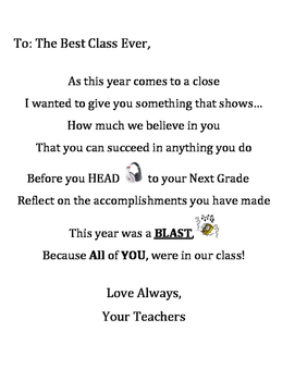 End of the Year Teacher Letter