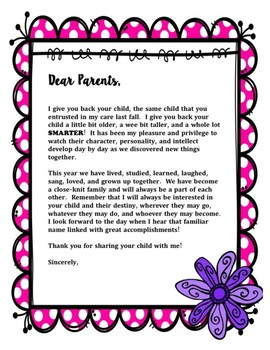 End of the Year Teacher Letter to Parent