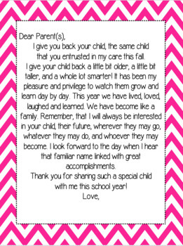 End of the Year Teacher Letter to Students and Parents
