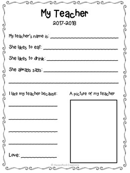 End of the Year Teacher Printable