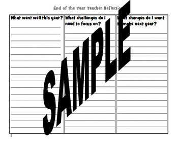 End of the Year Teacher Reflection Journal