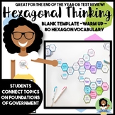 End of the Year Test Review Foundations of Government Hexagonal Thinking
