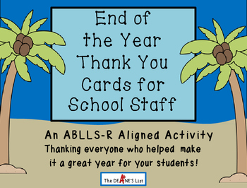 End of the Year Thank You Cards for School Staff
