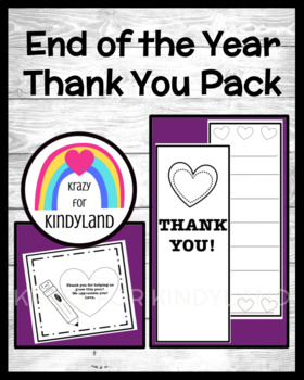 End of the Year Thank You Pack: Card, Gift Tag FREEBIE!