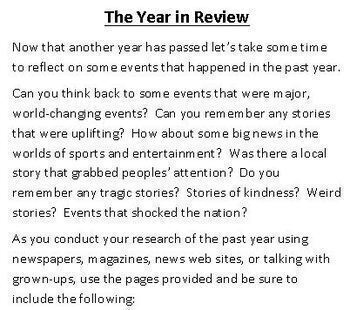 End of the Year Activity - The Year in Review - Research Booklet - Four Versions