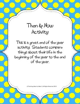 End of the Year Then and Now Activity
