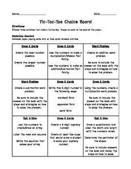 End of the Year Tic-Tac-Toe Choice Board for Math Stations