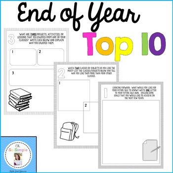 End of the Year Top 10 Printable Resource