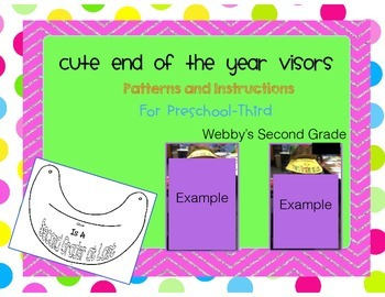 End of the Year Visors Pattern for Pre-K-3rd
