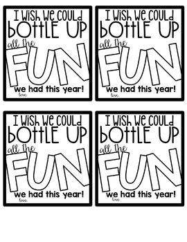 End of the Year Water Bottle Gift Tags