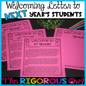 End of the Year Welcoming Letter, Supply List and MORE for NEXT Year's Students