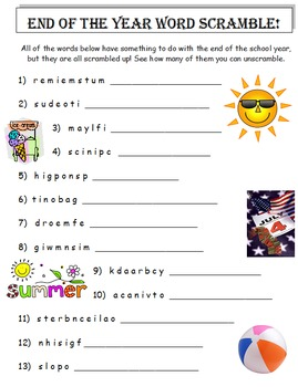End of the Year Word Scramble (A Thinking Activity)