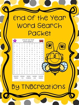 End of the Year Word Search Packet