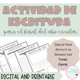 3rd grade End of the Year Writing Activity in Spanish