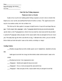 End of the Year Writing Assignment: Thank You Letter to a Teacher