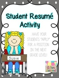 "Back to School/Beginning (or End) of the Year Writing, Student ""Resume"" Writing"