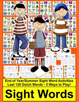 End of the Year Activities or Summer Sight Words Card Games & Memory - Set 2
