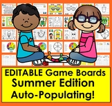 EDITABLE Game Boards Auto-Fill from ANY SIGHT WORD LIST Summer School Set 1