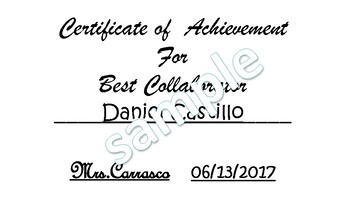 End of the Year (or anytime) Certificates of Achievement