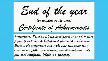 end of the year or anytime certificates of achievement by