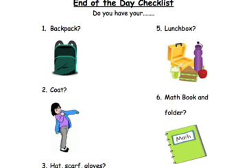 End of the day checklist