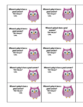 End of the school year owl cards/gift tags