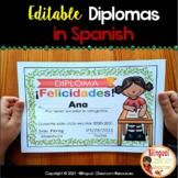 End of the year Editable Awards In Spanish-Diplomas de fin de curso