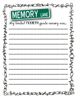 End of the year Fondest Fourth Grade memory writing
