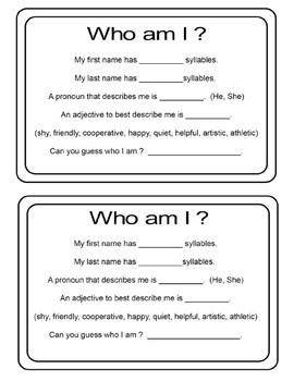 Beginning of the Year Game -How well do you know your classmates?