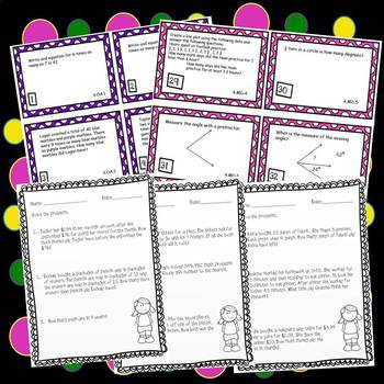 end of the year math review 4th grade common core task cards worksheets. Black Bedroom Furniture Sets. Home Design Ideas