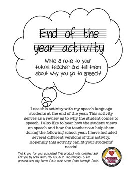 end of year speech therapy activities teaching resources teachers