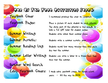 End of the year activities with class yearbook printable