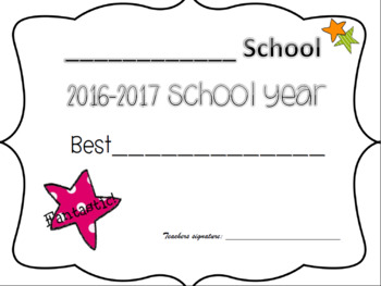 End of the year classsroom awards--EDITABLE & FREE