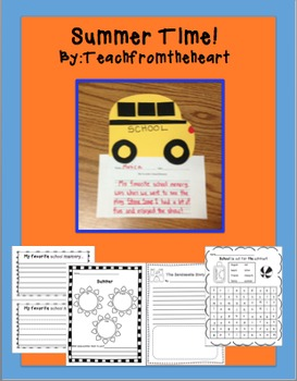 School Bus Craftivity-Summer Fun printables!