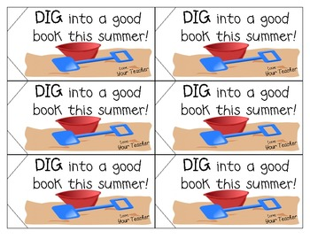 End of the year gift label: Dig into a good book this summer!
