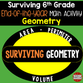 6th Grade Math End of Year Review Activity (Surviving Geometry)