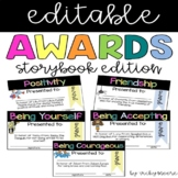 End of the year story book character awards editable