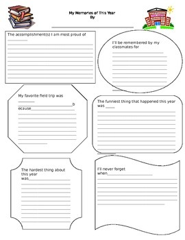 End of the year student yearbook printables and parent letters
