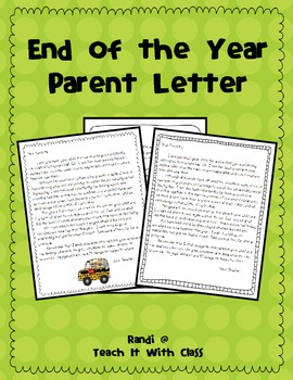 End of the year thank you for parents
