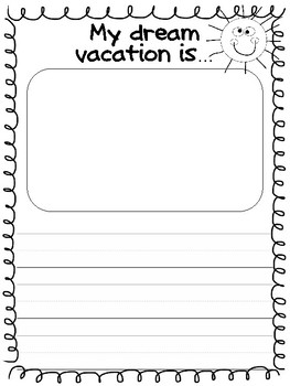 End of the year vacation craft with writing