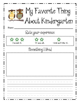 End of the year writing - favorite thing about Kindergarten