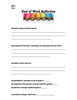 End of week reflection sheet