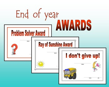 End of year Awards and Certificates
