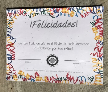 End of year Certificate in Spanish